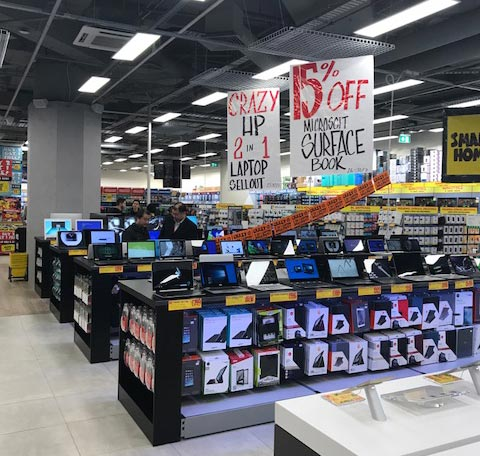 Flash Building's shop fitting clients include JB Hi-Fi